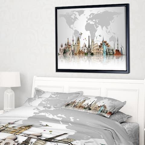 Designart 'Famous Monuments Across World' Framed Canvas Art Print