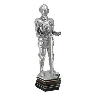 Medieval Knight In Shining Armor Standing Holding Sword Statue 15 Inch Overstock 16819487