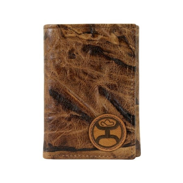 "HOOey Western Wallet Mens Signature Trifold Marbled Brown - 3"" x 3/4"" x 4"""