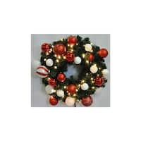 Christmas at Winterland WL-GWSQ-02-CDY-LWW 2 Foot Pre-Lit Warm White Sequoia Wreath Decorated with Candy Ornaments Indoor /