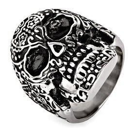 Men's Stainless Steel Day of the Dead Antiqued Finish Ring - Sizes 9-13