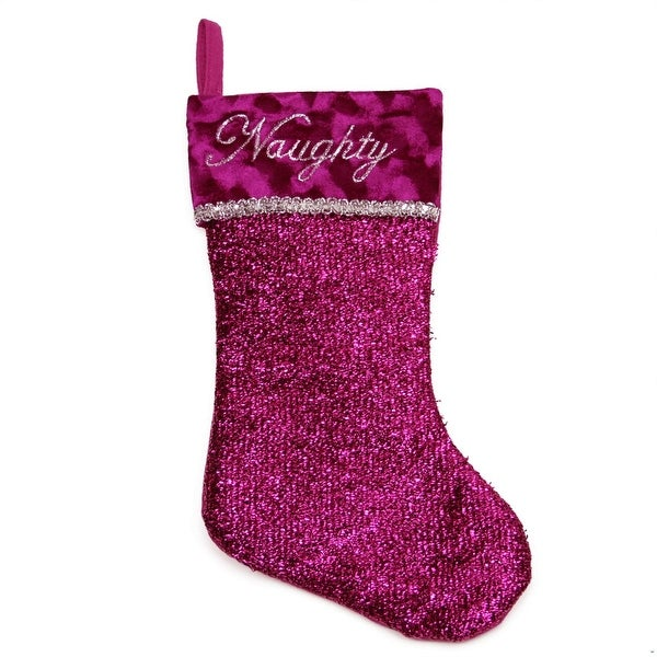 """17"""" Metallic Pink Embroidered """"Naughty"""" Christmas Stocking with Shadow Velveteen Cuff"""