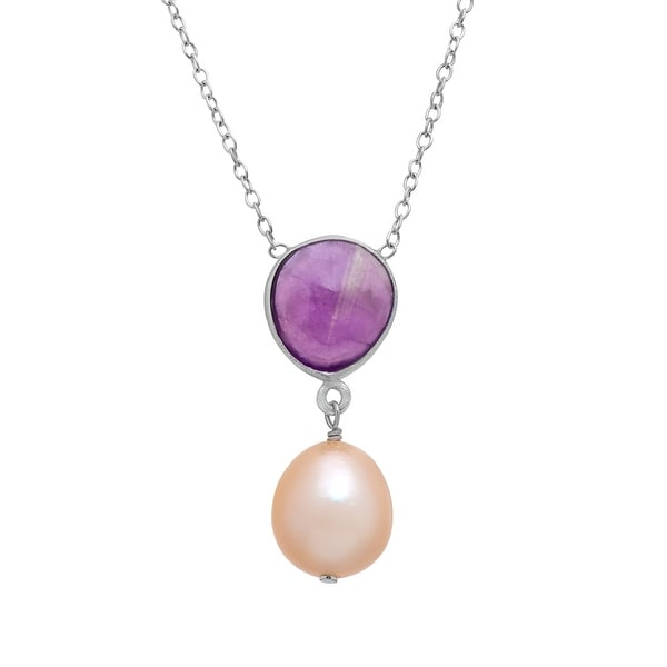 3 ct Amethyst and Peach Freshwater Pearl Drop Pendant in Sterling Silver