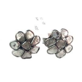 Genuine Slice Diamond Studs with Sterling Silver in Black Rhodium