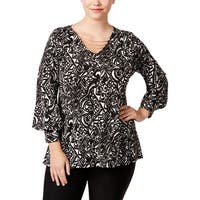 NY Collection Womens Plus Pullover Top Printed Long Sleeves