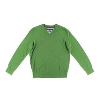 Tommy Hilfiger Mens Pima Cotton V-Neck Pullover Sweater - S