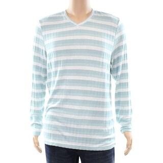 Alfani NEW Green Tide Mens Size Large L Striped Knit V-Neck Sweater