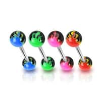 Surgical Steel 14G Barbell with UV Flame Balls (Sold Individually)