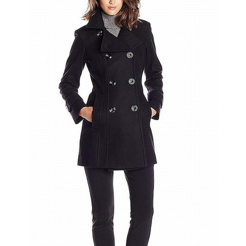 Anne Klein Womens Coat Black Medium M Double Breasted Notched-Collar