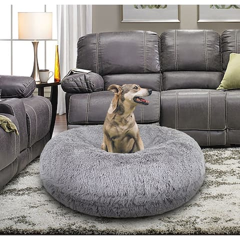 Bessie and Barnie Signature Siberian Grey Luxury Extra Plush Faux Fur Bagel Pet / Dog Bed