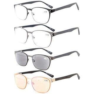 Eyekepper 4-Pack Quality Spring Hings Acetate Temples Reading Glasses+3.5