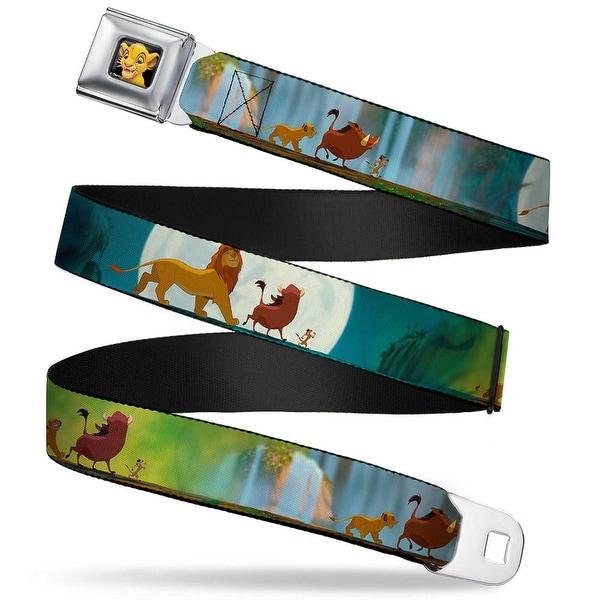 Simba2 Close Up Full Color Lion King Simba, Pumba & Timon Growing Up Seatbelt Belt