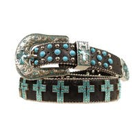 Blazin Roxx Western Belt Womens Turquoise Crystal Cross Black