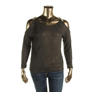 MICHAEL Michael Kors Womens Casual Top Linen Blend Shimmer