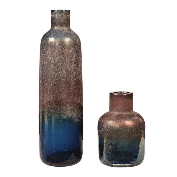"""Set of 2 Blue and Bronze Blown Glass Vases 18"""" - N/A"""