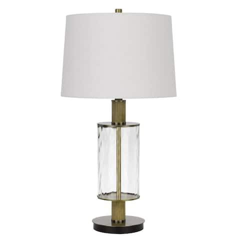 Morrilton Light Oak Glass Table Lamp with Shade