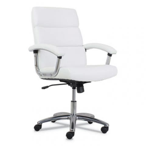 Traction High-Back Executive Chair, Supports Up To 250 Lbs., White Seat/White Back, Polished Aluminum Base