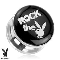 """Rock the Bunny"" Playboy Bunny Logo Print Screw Fit Plug 316L Surgical Steel (Sold Individually)"