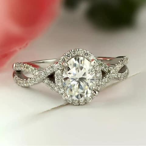 Auriya 1ctw Oval Moissanite Halo Diamond Engagement Ring 1/5ctw 14k Gold