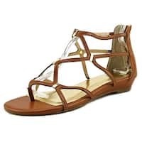 Thalia Sodi Pamella Women W Open Toe Canvas Brown Gladiator Sandal - 10