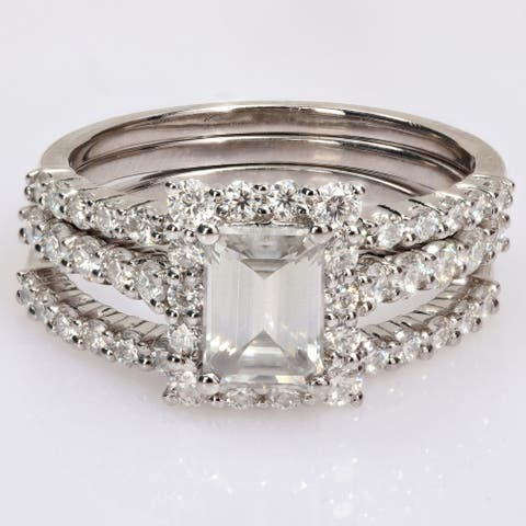 Miadora 2 1/10ct DEW Octagon-cut Moissanite Halo Bridal Ring Set in Sterling Silver