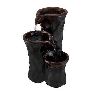 3 Tier Ceramic Vase Bronze Finish Tabletop Fountain