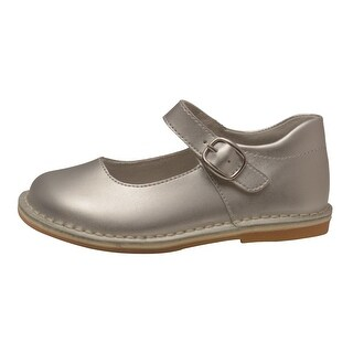 L'Amour Girls Silver Classic Matte Leather Mary Jane Shoes 4 Baby-10 Toddler