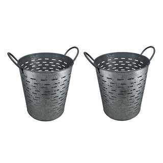 Set of 2 Galvanized Metal Olive Buckets w/Built-In Handles