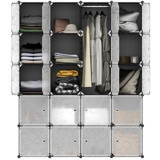 LANGRIA 20 Storage Cube Organizer Wardrobe Modular Closet Plastic Cabinet,Black and White