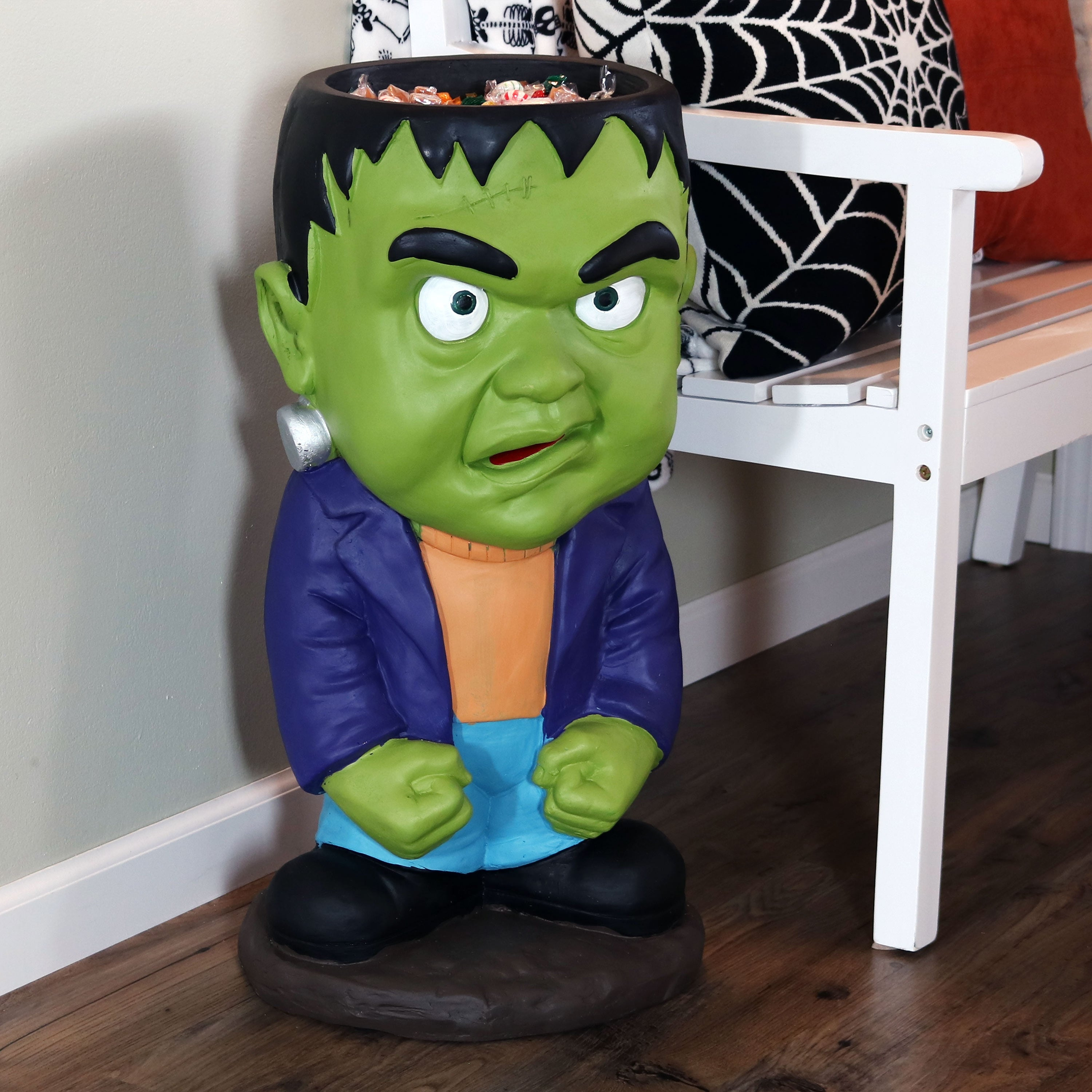 Sunnydaze Frankenstein Halloween Statue with Candy Bowl Dish , 27,Inch