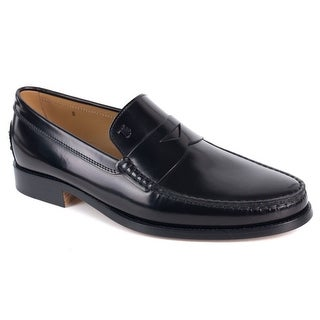 Tods Black New Devon Polished Leather Penny Loafers