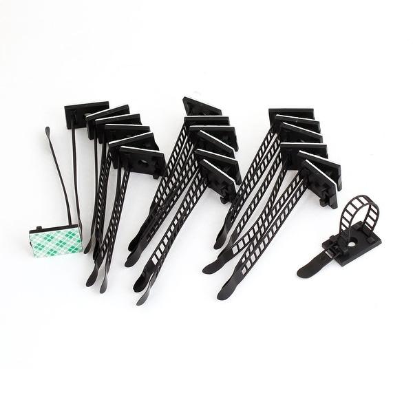 Shop Unique Bargains 20 Pcs Black Plastic Rectangle Self Adhesive ...