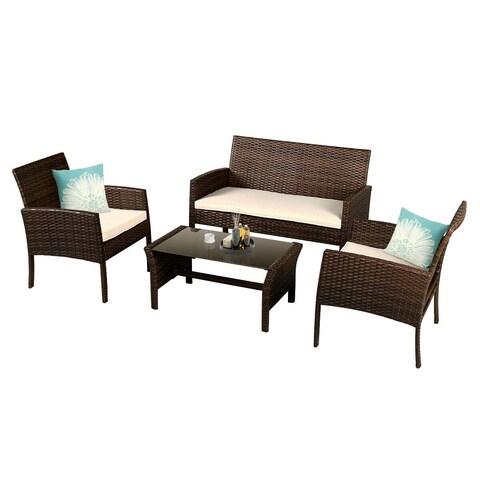 Costway 4 Pieces Patio Furniture Wicker Rattan Sofa Set Garden Coffee Table - as pic