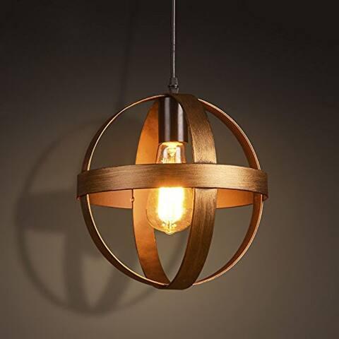 Single bronze pendant light fixture, vintage industrial globe pendant lamp