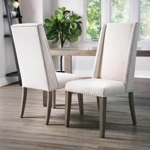 Abbyson Lillian Neutral Acacia Polyester Dining Chair
