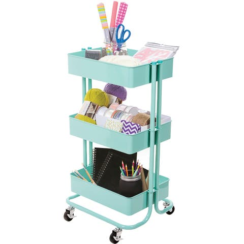 3-Tier Metal Rolling Cart-Mint