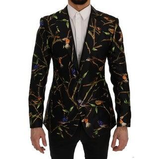 Dolce & Gabbana Dolce & Gabbana Black Bird Print Silk Slim Fit Blazer Jacket