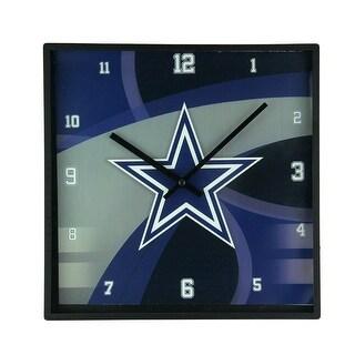 Dallas Cowboys Carbon Fiber Print 11 Inch Square Wall / Table Clock - Black