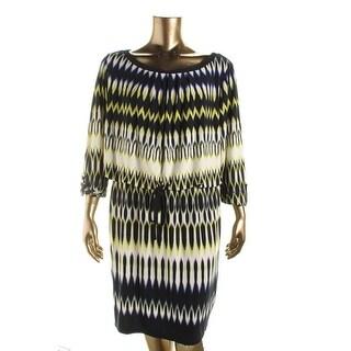 London Times Womens Plus Matte Jersey Printed Wear to Work Dress - 20W