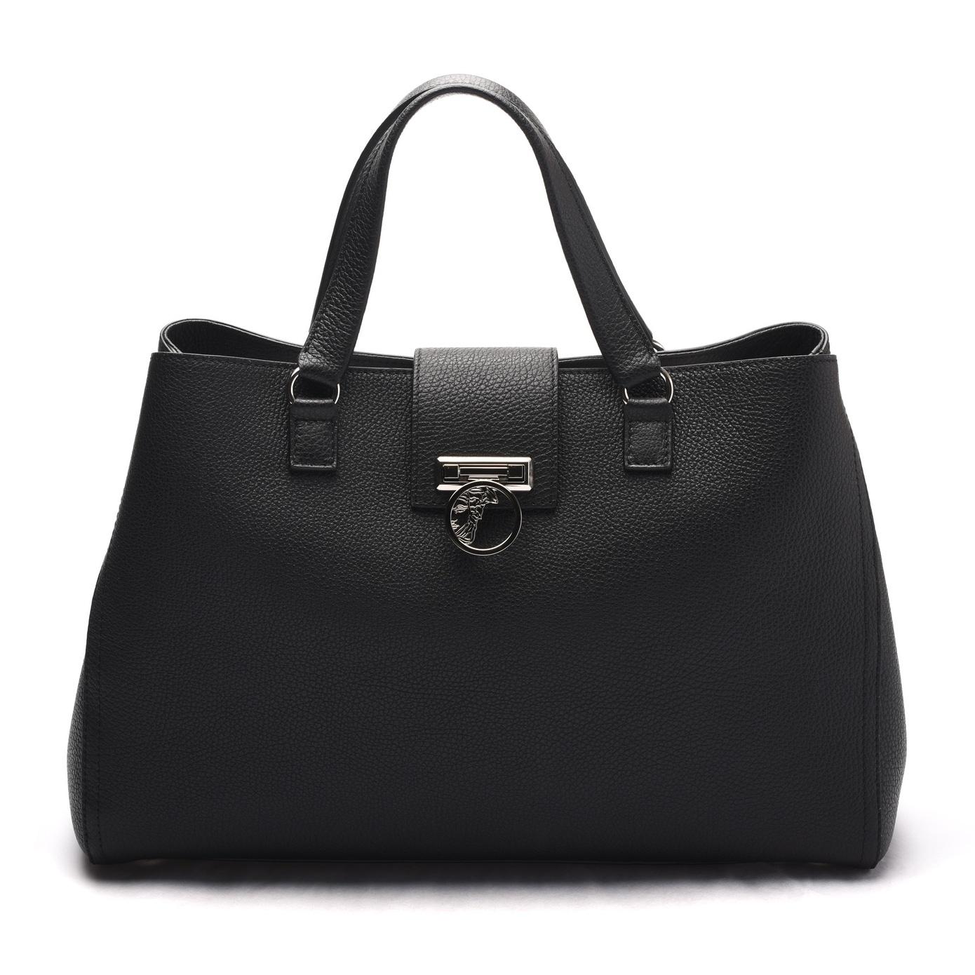 Versace Collection Women Pebbled Leather Medusa Top Handle Handbag Satchel Black - M - Thumbnail 0