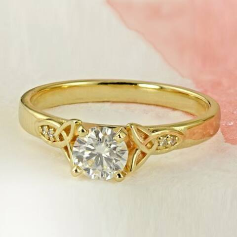 Auriya 14k Gold Modern 1ct Round Moissanite Engagement Ring