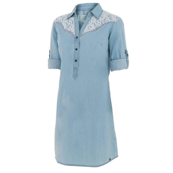 Noble Outfitters Dress Women S/S Bluegrass Lace Chambray Buttons