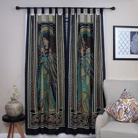 Handmade Celtic Peace Angel 100% Cotton Tab Top Curtain Drape Panel 44x88 inches - 44 x 88 inches