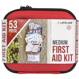Lifeline Medium Hard-Shell Foam Case First Aid Kit - 53 Pieces - Red