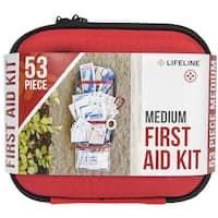 Lifeline Medium Hard-Shell Foam Case First Aid Kit - 53 Pieces - Red - M