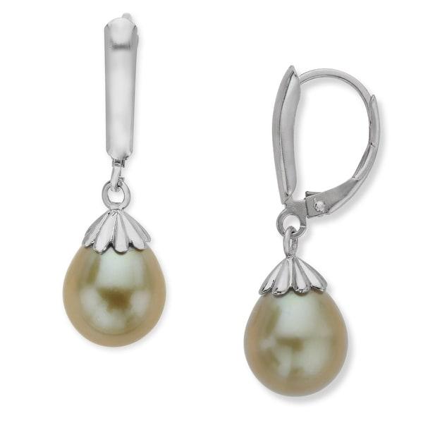 Honora 9-9.5mm Kiwi Freshwater Pearl Drop Earrings in Sterling Silver - Green