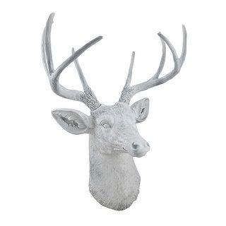 8 Point Buck Deer Head Bust Wall Hanging White
