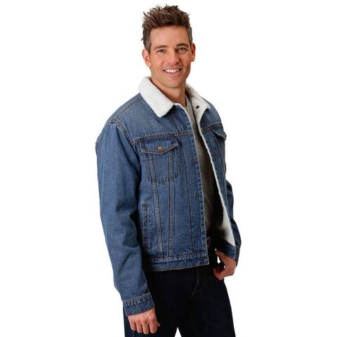 Roper Western Jacket Mens Denim Sherpa Snap Blue