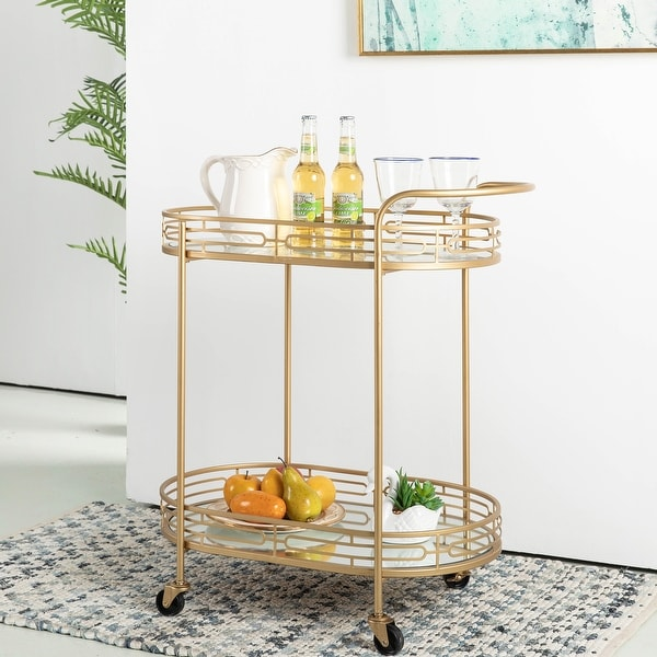 Glitzhome Metallic Gold 2-Tier Serving Bar Cart with Mirrored Glass. Opens flyout.