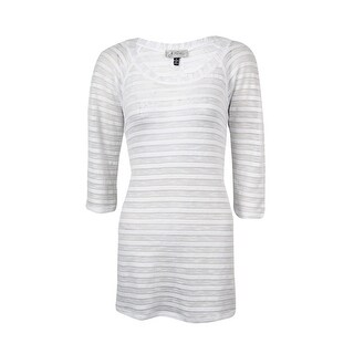 J Valdi Women's Textured Striped Tunic Swim Cover